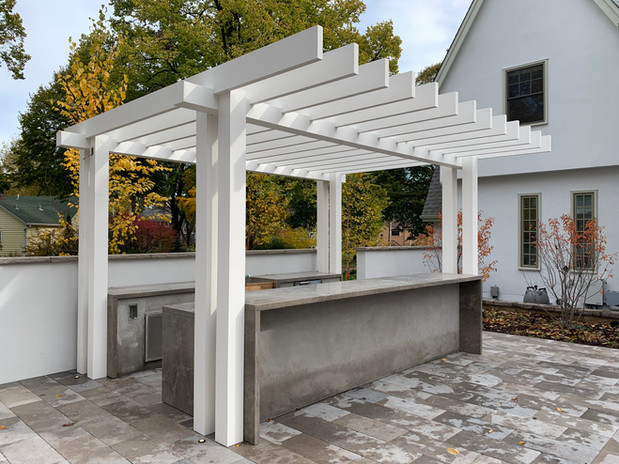 Outdoor Kitchen + Custom Aluminum Pergola