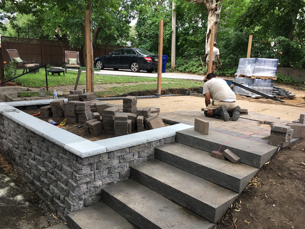Paver Patio, Wall, And Stair