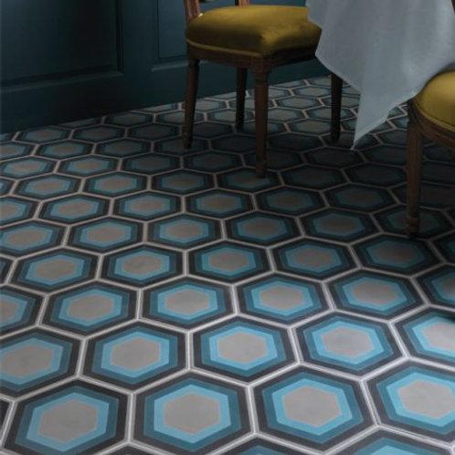Patisserie Hexagon Blue Encaustic Satin