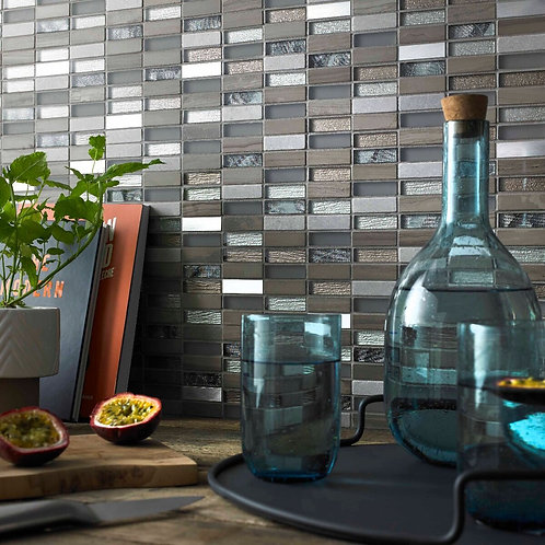 Beige Mix Stone, Glass & Metal Linear Mosaic