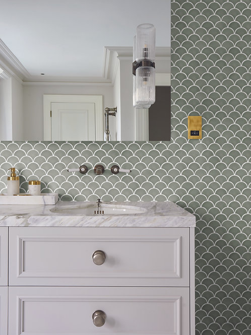 Atlantis Scallop Thyme Gloss Mosaic Porcelain