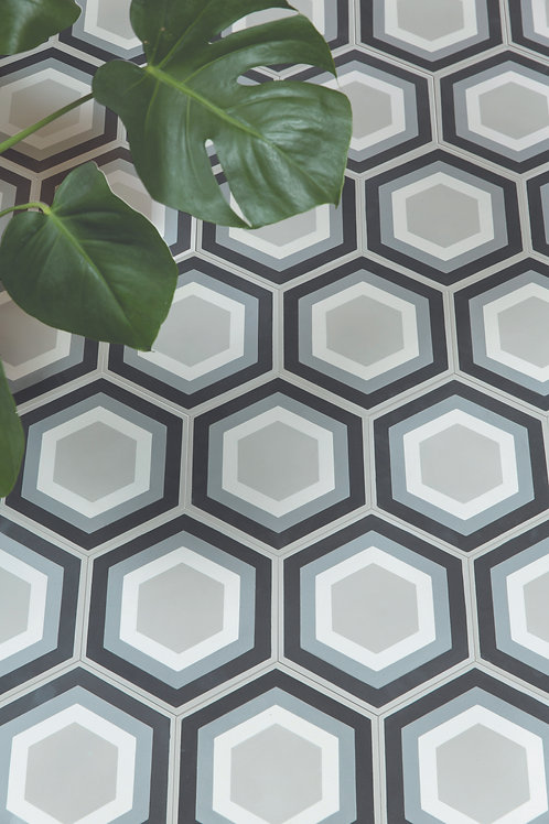 Patisserie Hexagon Monochrome Encaustic Satin