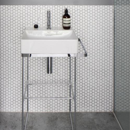 Mono Hex Blanc Satin  Porcelain Mosaic
