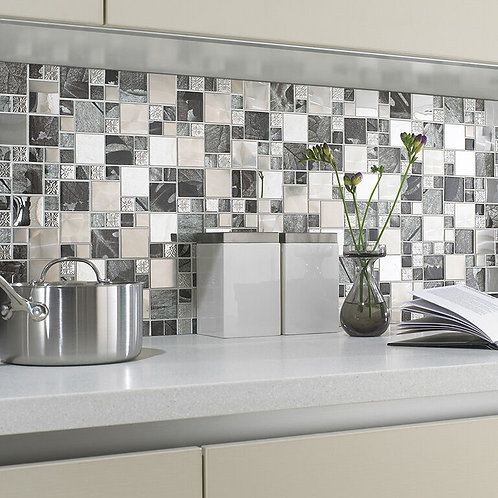 Saturn Silver Glass & Metal Mix Modular Mosaic