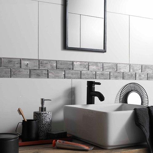 Silver Wood Effect Glass Brick Mosaic