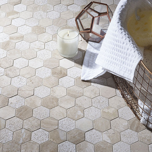 Vanilla Cream Mix Finish Marble Hexagon Mosaic