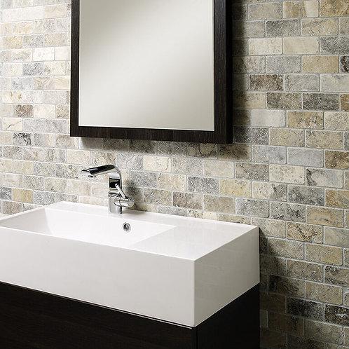 Grey Tumbled Travertine Brick Mosaic