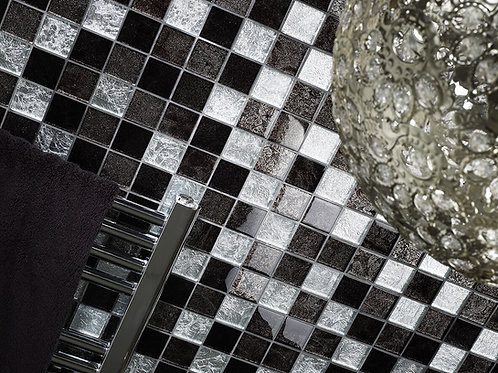 Black & Silver Leaf Mix Glass Mosaic