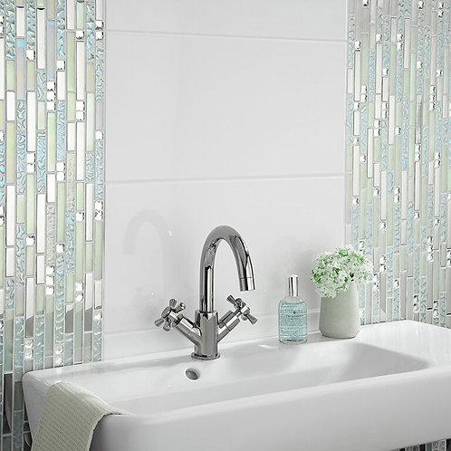 Pearlescent Glass, Metal & Mirror Mix Random Mosaic