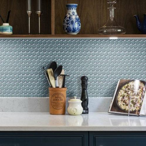 Yoga Penny Deep Teal Blue Mosaic Porcelain