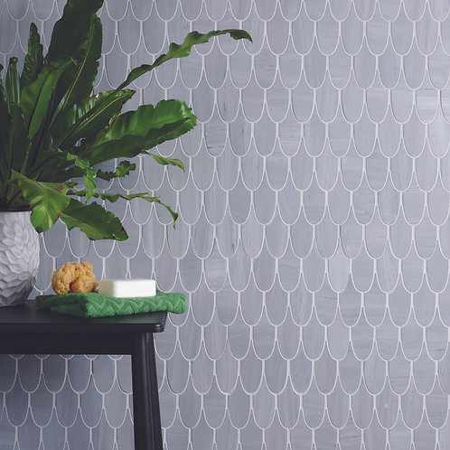 Plume Dove Marble Mosaic Honed