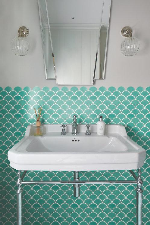 Atlantis Scallop Kiwi Gloss Mosaic Porcelain