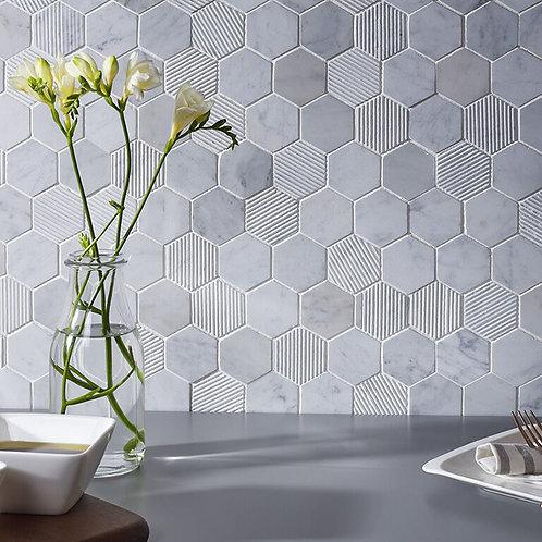 Fog Stone Hexagon Mixed Finish Marble Mosaic