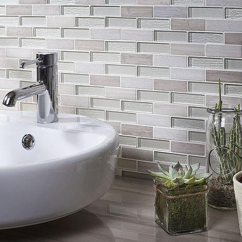 Grey-White Glass & Stone Mix Brick Mosaic