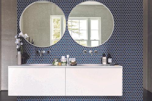 Yoga Penny Deep Blue Gloss Mosaic Porcelain