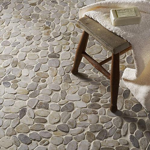 White Flat Cut Pebble Mosaic
