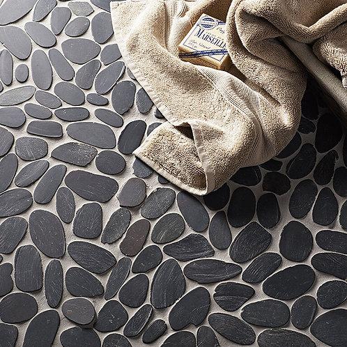 Black Flat Cut Pebble Mosaic