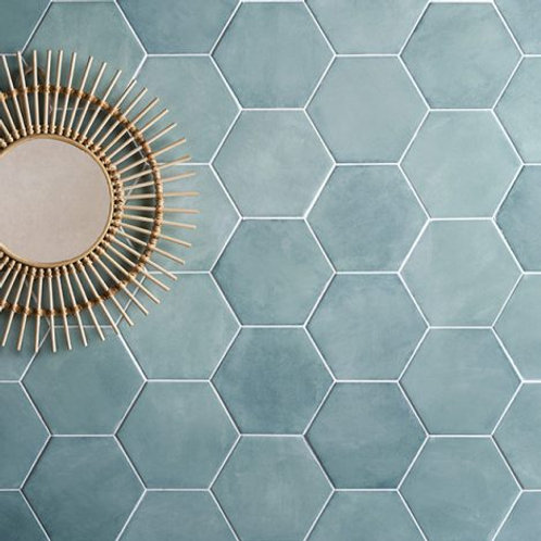 Medina Hexagon Aqua Matt Porcelain