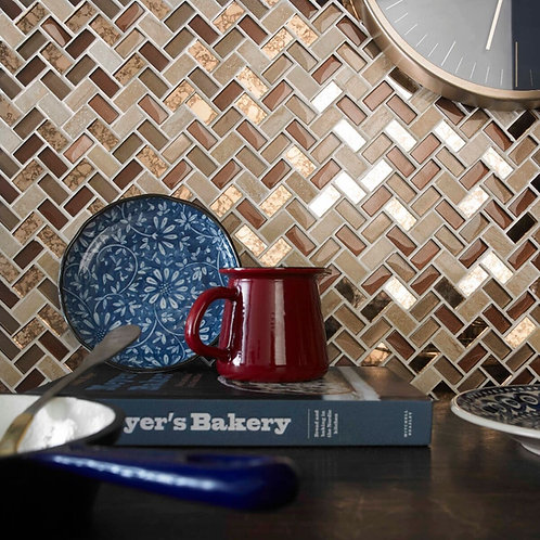 Copper Herringbone Glass & Stone Mosaic