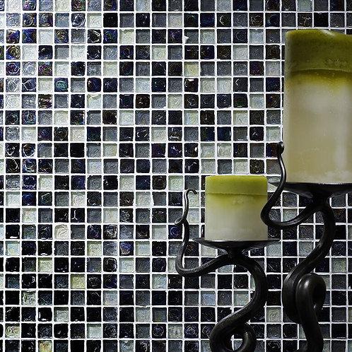 Hammered Pearl Black & White Mix Glass Mosaic