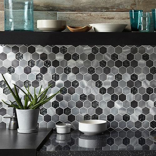 Black Mix Glass & Metal Hexagon Mosaic
