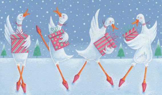 Four Xmas Dancing Ducks