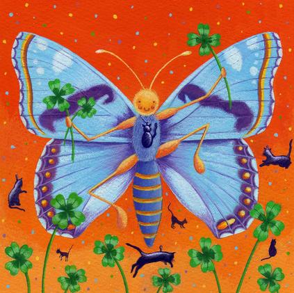 Blue butterfly & lucky clover