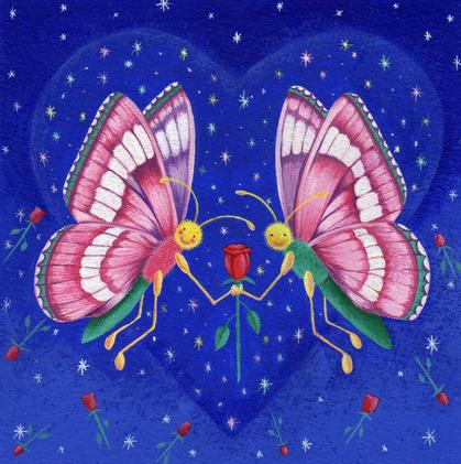 Red rose & butterflies