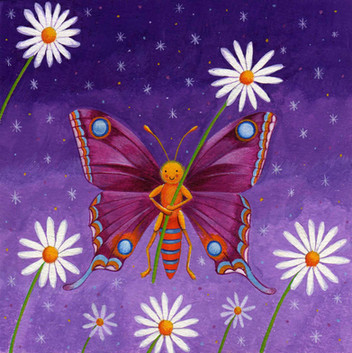 Butterfly & daisies