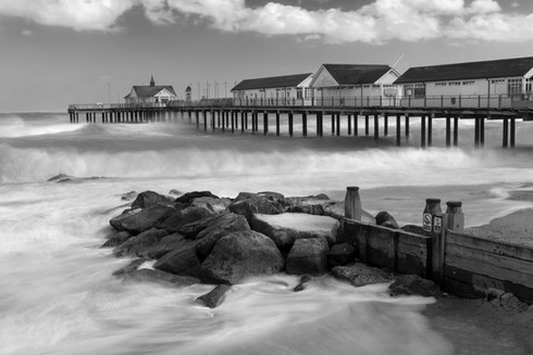 Waves rolling in at Southwold pier