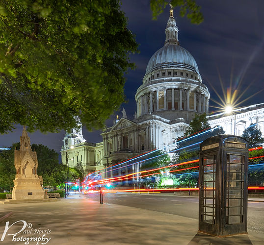 Long exposure with light trails in front of St Paul's cathedral