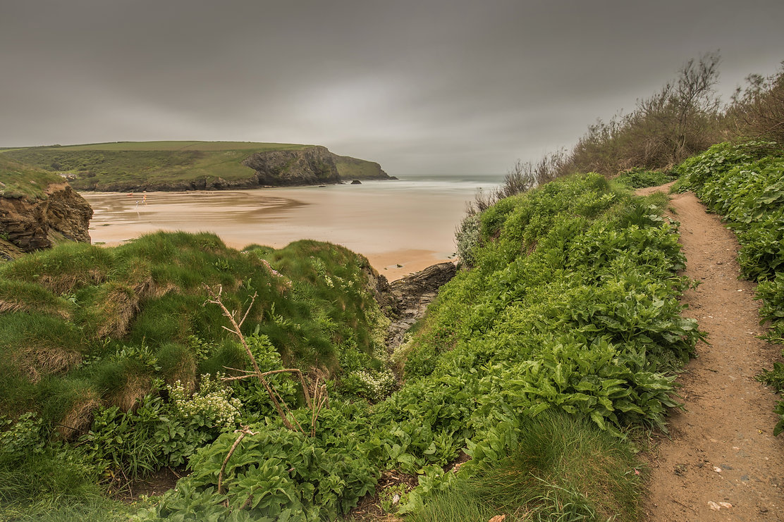 Hell's Mouth, North Cornwall with a stormy sky