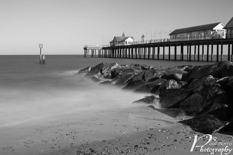 Black & white long exposure at Southwold pier, Suffolk by Paul Norris Photo