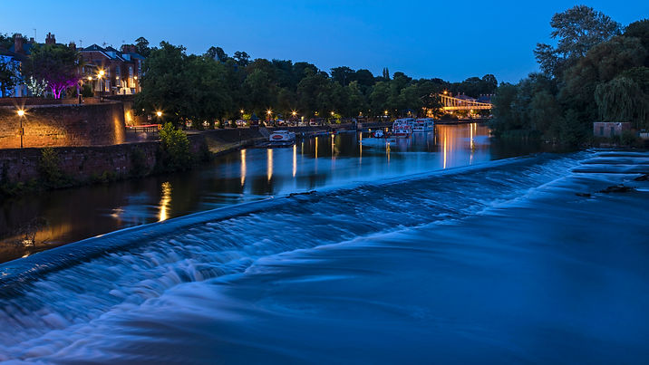River Dee in Chester inc Chester City Walls in Blue hour