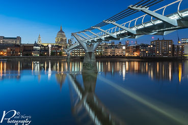 River thames at night with the Millennium bridge leading to St Paul's Cathedral. www.pnorrisphoto.co.uk