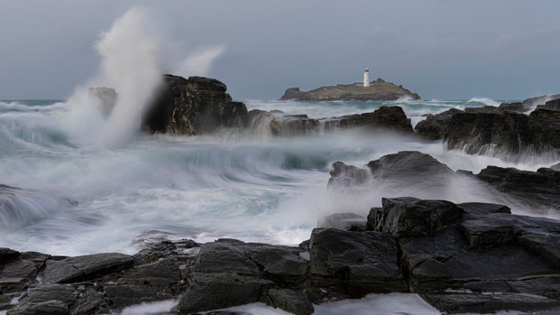 Godrevy Lighthouse during storm Ciara - February 2020