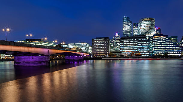 London bridge, captured during the blue hour at night by paulnorrisphotography