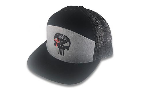 Grey/Black 7 Panel TriState Skull Logo Hat
