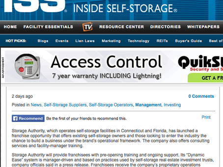 Inside Self Storage Press release – Storage Authority Launches