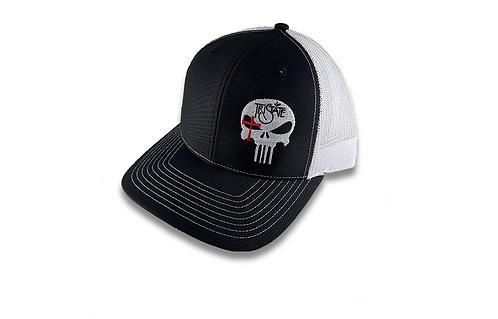 Blk/Wht Brim Cap - TriState Skull Logo
