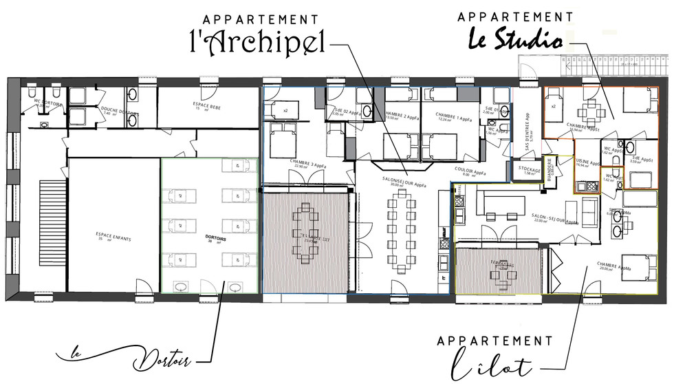 Salle de bain des chambres 2 et 3 de l'Archipel