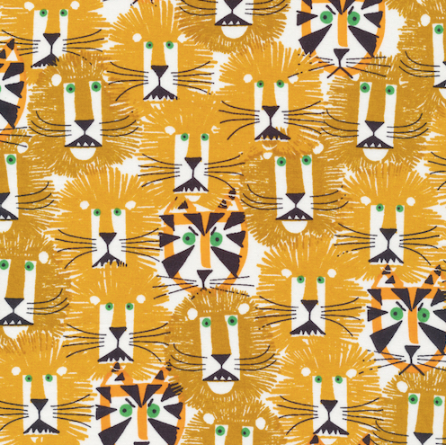 Lions and tigers, organic cotton, Cloud 9 Fabric, by Ed Emberley