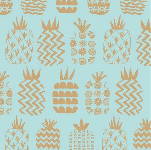 Dashwood Studios Ocean Drive metallic pineapples, in pink and blue