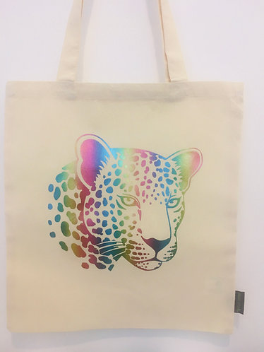 Leopard made with rainbow shimmer flex on an organic cotton, Fairtrade tote bag