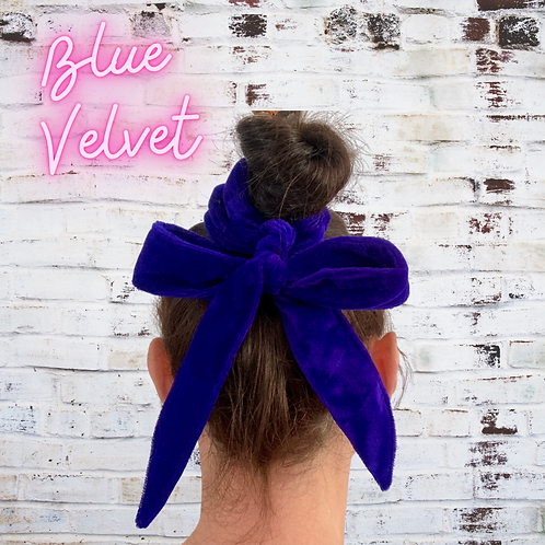 Hair scrunchie with bow, available in three fabrics