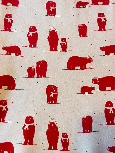 Polar bears with hats & scarves cotton calico fabric red on natural
