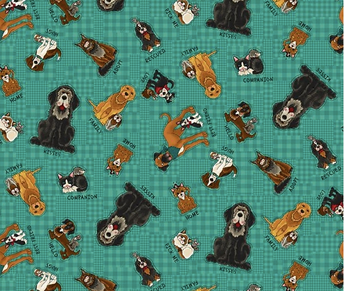 'Rescued and loved' dog fabric in turquoise from Henry Glass