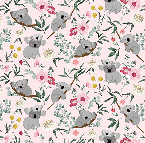 Koala fabric, Aussie Friends by P & B fabrics, available in pink and blue