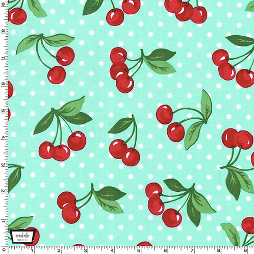 Cherry Dot from Michael Miller in mint and black