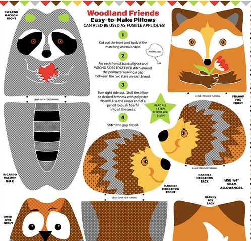 Woodland animal snuggle pillows from Blank Quilting